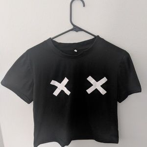 Black cropped shirt w/ X's on chest